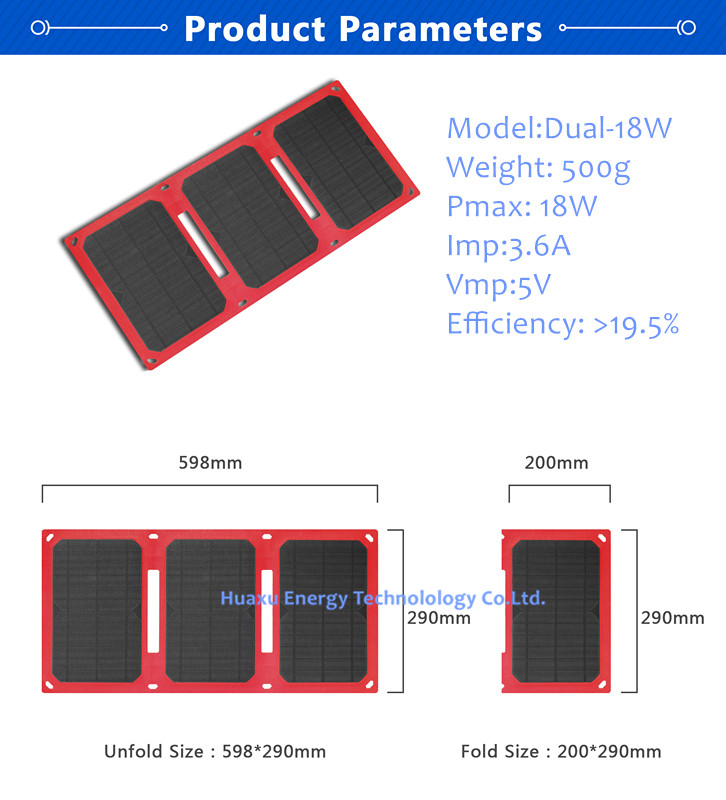 18w ETFE monocrystalline solar charger